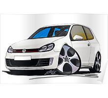 VW Golf GTi (Mk6) White Poster