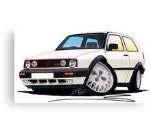VW Golf GTi (Mk2) White Canvas Print