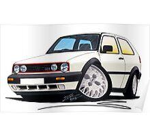 VW Golf GTi (Mk2) White Poster