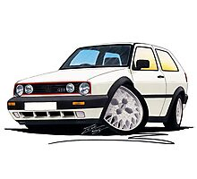 VW Golf GTi (Mk2) White Photographic Print