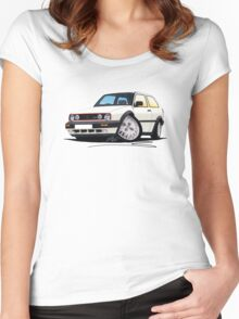 VW Golf GTi (Mk2) White Women's Fitted Scoop T-Shirt