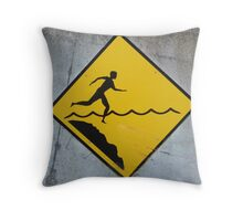 Water Warning #2 Throw Pillow
