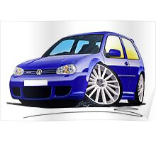 VW Golf (Mk4) R32 Blue Poster