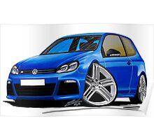 VW Golf R Blue Poster