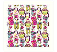 Neon Owls Art Print