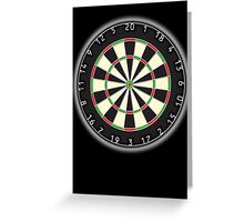 Dart Board, Darts, Arrows, Target, Bulls eye, Pub game, on Black Greeting Card