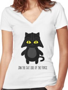 Cat Vader Women's Fitted V-Neck T-Shirt