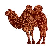 Camel Silhouette Paisley by surgedesigns