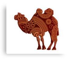 Camel Silhouette Paisley Canvas Print