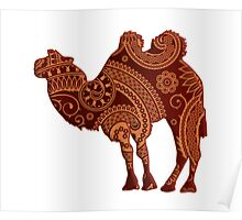 Camel Silhouette Paisley Poster