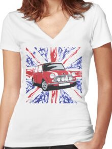 British Mini 01 (Paint) Women's Fitted V-Neck T-Shirt