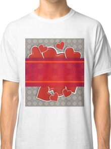 Hearts on vintage background Classic T-Shirt