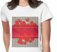 Hearts on vintage background Womens Fitted T-Shirt
