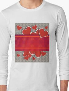 Hearts on vintage background 2 Long Sleeve T-Shirt
