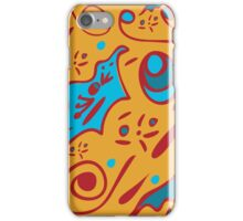 funny seamless pattern with floral ornaments on an orange background iPhone Case/Skin