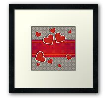 Hearts on vintage background 3 Framed Print