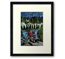 Mirror Lake  (She sits and waits.) Framed Print