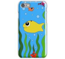 fish, starfish and cancer living in the ocean among seaweed iPhone Case/Skin