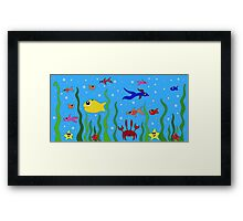 fish, starfish and cancer living in the ocean among seaweed Framed Print