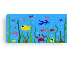 fish, starfish and cancer living in the ocean among seaweed Canvas Print