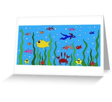 fish, starfish and cancer living in the ocean among seaweed Greeting Card