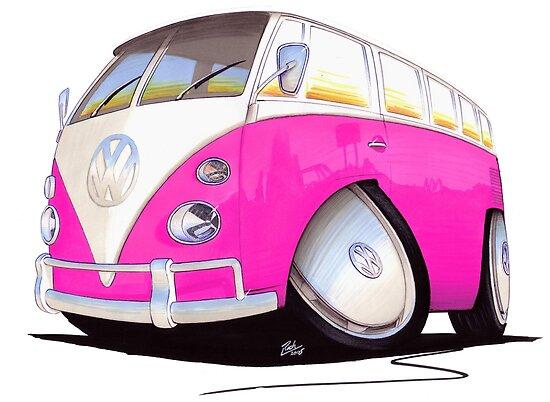 VW Splitty Camper Van Pink by Richard Yeomans