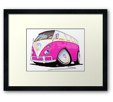 VW Splitty Camper Van Pink Framed Print