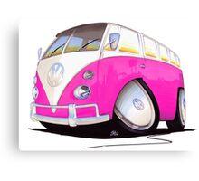 VW Splitty Camper Van Pink Canvas Print