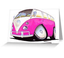 VW Splitty Camper Van Pink Greeting Card