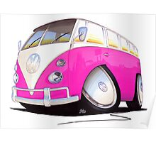 VW Splitty Camper Van Pink Poster