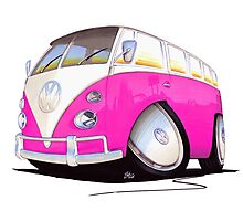 VW Splitty Camper Van Pink Photographic Print