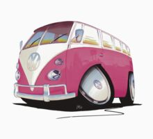 VW Splitty Camper Van Pink by Richard Yeomans