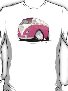 VW Splitty Camper Van Pink T-Shirt