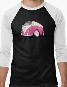 VW Splitty Camper Van Pink Men's Baseball ¾ T-Shirt