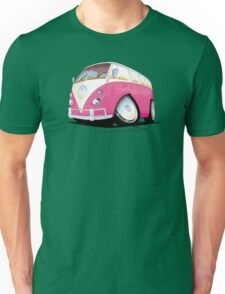 VW Splitty Camper Van Pink Unisex T-Shirt