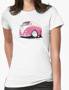 VW Splitty Camper Van Pink Womens Fitted T-Shirt