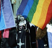 Transvestite nuns against neo nazis, Paris. by Mitchell  McLean