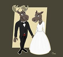 Moose Wedding Cartoon by Radka Kavalcova