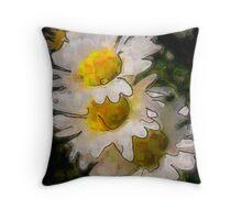 Watercolor Daisys Throw Pillow