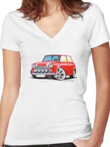 Rover Mini Cooper Sport Red Women's Fitted V-Neck T-Shirt