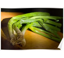 Green Onions on Wood Poster
