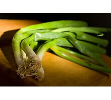 Green Onions on Wood Photographic Print