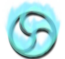 Fire Triskelion Light Blue on white  by kinkykitee
