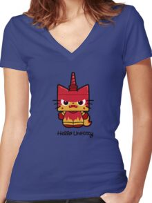 Hello (Angry) Unikitty Women's Fitted V-Neck T-Shirt