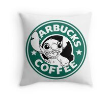 No more coffee for you - Stitch Starbucks logo Throw Pillow