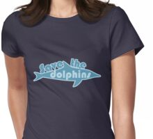 Save the dolphins Womens Fitted T-Shirt