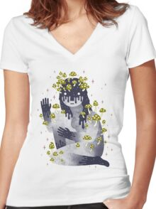 Celestial Decay Women's Fitted V-Neck T-Shirt