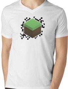 Grass Block Mens V-Neck T-Shirt