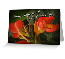 Merry Christmas Happy New Year Card - Red Canna Lily Greeting Card