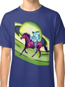 Astronaut Rides a Space Horse on the Rings of Saturn Classic T-Shirt
